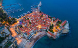 View of the Old Town Budva at night.