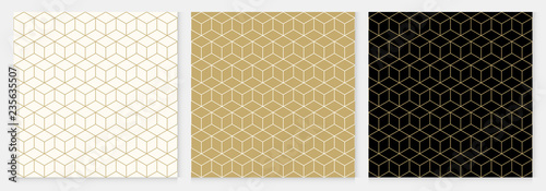 Background pattern seamless cube abstract gold luxury color geometric vector.