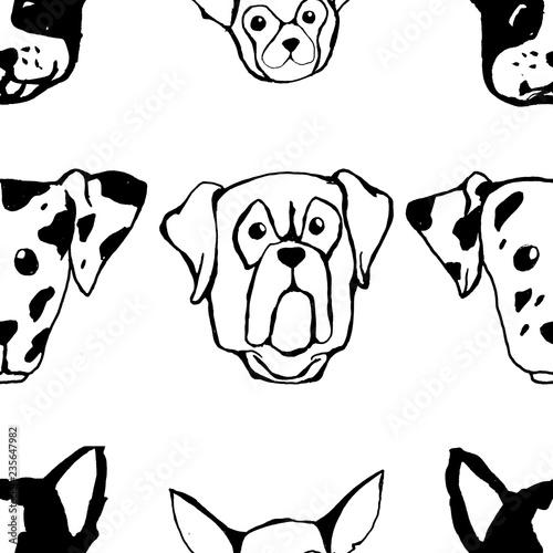 fototapeta na ścianę Seamless pattern with Dog breeds. Bulldog, Husky, Alaskan Malamute, Retriever, Doberman, Poodle, Pug, Shar Pei, Dalmatian