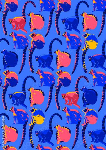 fototapeta na ścianę Pattern of wild lemurs drawn in the technique of rough brush in vibrant colors