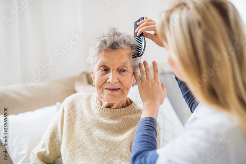 Leinwandbild Motiv A health visitor combing hair of senior woman at home..
