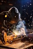 Welder working in workshop factory - 235657905