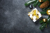 Christmas background - Gold and silver decorations and present b - 235664327
