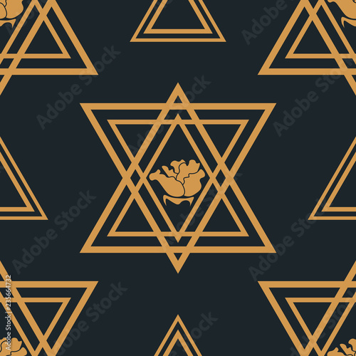 fototapeta na ścianę triangle and rose seamless geometric abstract pattern