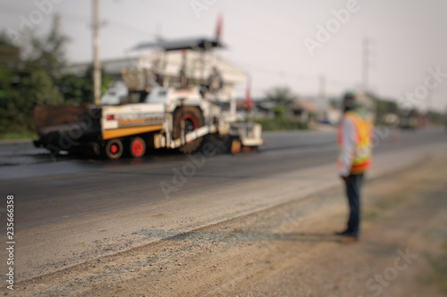 fototapeta na ścianę Road construction in Thailand, picture blurred