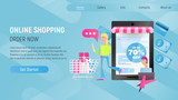 Online Shopping Landing Page Blue Gradient - 235673310