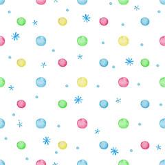 Watercolor polka dot seamless pattern.