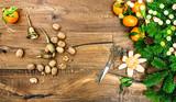 Tangerine fruits walnuts vintage accessories golden lights decoration