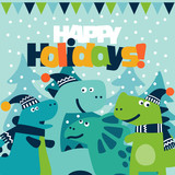 Cute winter holiday illustration with funny dinosaurs. Christmas and New Year vector card