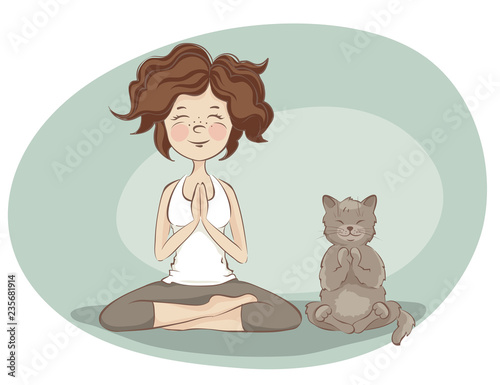 Fototapeta Young woman and cat  practicing yoga / Funny vector illustration on the theme of health and sport