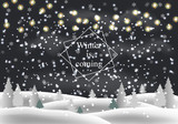 Winter is coming. Snowy night with fir trees, coniferous forest, light garlands, falling snow, forest landscape Holiday winter landscape