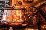 closeup of mulled wine in traditional copper cauldron at the christmas market - 235682902