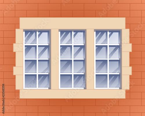 Window and brick wall vector illustration. - 235683114