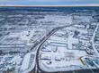 Aerial view of the winter village with roads - 235684326