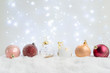 White christmas with snow - pink and golden decorations close up