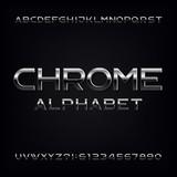 Chrome alphabet font. Metallic effect letters and numbers. Stock vector typeface for your design.