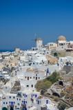 view of the greek city on santorini