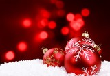 Red Christmas balls   on  background