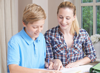 Female Home Tutor Helping Boy With Studies © highwaystarz
