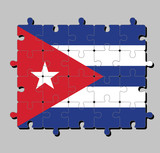 Jigsaw puzzle of Cuba flag in blue and white with the red equilateral triangle and star. Concept of Fulfillment or perfection.