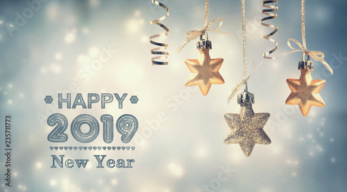 Happy New Year 2019 message with hanging star ornaments - 235711773