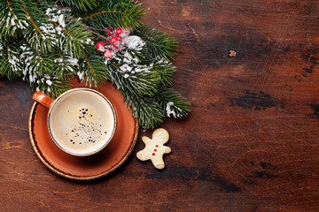 Christmas card with coffee cup and fir tree