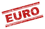EURO seal print with corroded texture. Red vector rubber print of EURO title with corroded texture. Text tag is placed between double parallel lines. - 235735120