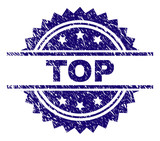 TOP stamp seal watermark with distress style. Blue vector rubber print of TOP text with retro texture. - 235736133