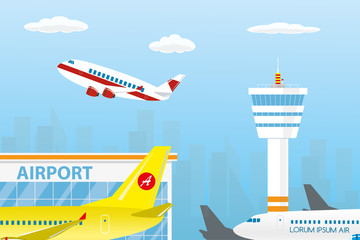 Airport buildings, control tower,different runway and take-off modern airplanes