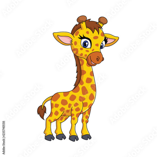cute cartoon giraffe with a sweet smile