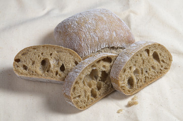 Ciabatta bread close up