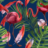 Watercolor tropical wildlife, flamingo bird, seamless pattern. Hand Drawn jungle nature, flowers illustration. Print for textile, cloth, wallpaper, scrapbooking
