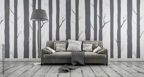 Sofa przed tapetą leśną