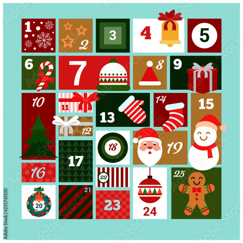 happy merry christmas Advent calendar Vector - 235761300