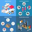 Clothes Factory Concept Icons Set