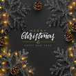 Christmas Background. Xmas design of sparkling realistic lights garland, black snowflake and glitter gold. Christmas banner, greeting cards, headers, poster website. Stylish black pattern - 235764502