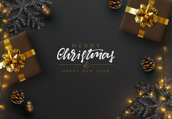 Christmas banner. Background Xmas design of sparkling lights garland, realistic gifts box, black snowflake and glitter gold. Christmas poster, greeting cards, headers, website. Stylish black pattern © lauritta