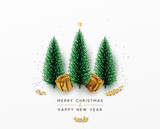 Christmas greeting card. Xmas Festive composition with decorative objects. Xmas elements decorations. Creative holiday invitation template. Vector illustration