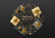 2019 happy New Year festive background. Xmas decoration black snowflakes with glitter, realistic gift box, covered with gold confetti, yellow ring of garland. Greeting card, banner, web poster