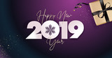 Happy New Year 2019. Vector illustration concept for background, greeting card, website and mobile website banner, party invitation card, social media banner, marketing material. - 235776535