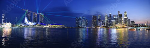 Singapore panorama skyline view to the Marina Bay and business district while sunset with light show, skyline landscape