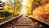 Colorful autumn leaves falling down on railway tracks - 235785128