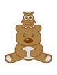 Leinwandbild Motiv eule vogel haustier kuscheltier kopf uhu teddy grizzly bär bärchen comic cartoon clipart süß niedlich design