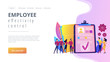 HR managers hiring candidates with hr software and resume on computer. HR software, human resources technology, employee effectivity control concept. Website vibrant violet landing web page template.