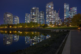 Downtown Vancouver at night from Yaletown waterfront. - 235822390