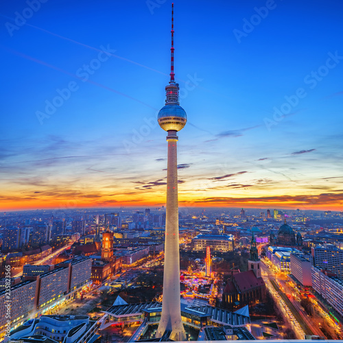 Aerial view on Alexanderplatz and Berlin city at sunset, Berlin, Germany © sborisov