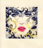golden cage. beautiful woman. fashion illustration. watercolor painting - 235825582