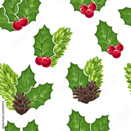 seamless pattern of Cranberries, cones and fir branches and berries. Cowberry Doodle vector illustration in red and green. The cranberries image to your menu and packaging design.Christmas pattern. - 235830774