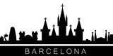 Barcelona detailed skyline. Vector postcard illustration