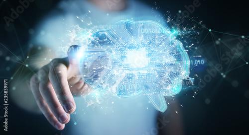 Businessman creating artificial intelligence in a digital brain 3D rendering - 235839971